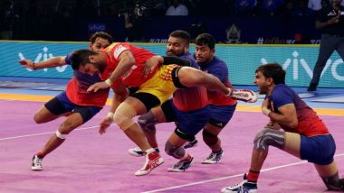 PKL 2018 Video Highlights: Dabang Delhi Hold Gujarat Fortune Giants to a Tie, Scores Level at 32-32 in Pro Kabaddi League Season 6 Match 5
