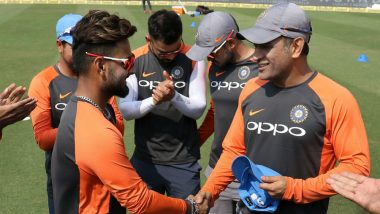 India vs Windies 1st ODI 2018: Rishabh Pant Receives Cap From MS Dhoni on His ODI Debut