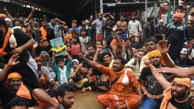 Sabarimala Temple Row: Pilgrims Protest and Shout Slogans Against Kerala Police Amid High Security
