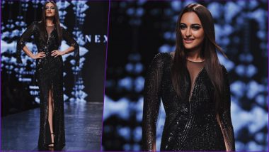 Lotus Make-Up India Fashion Week: Sonakshi Sinha Sets Ramp on Fire in Black Backless Gown by Rohit Gandhi and Rahul Khanna