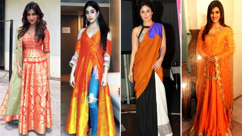 Navratri 2018 Day 5 Colour, October 14 – Orange: Kareena Kapoor Khan, Kriti Sanon, Janhvi Kapoor Show You How to Embrace This Colour
