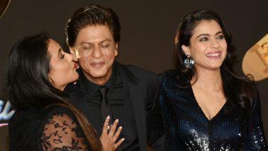 Cuteness Overload: Shah Rukh Khan Gets Kisses From Kajol and Rani Mukerji at 20 Years Of Kuch Kuch Hota Hai Celebrations! View Pics