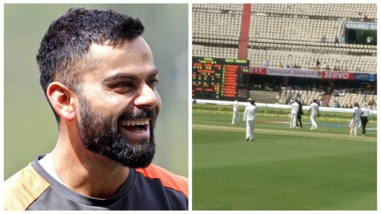 Virat Kohli Fan Enters Field to Take Selfie With Indian Captain During India vs West Indies 2nd Test Match, Disrupts Game; See Pics