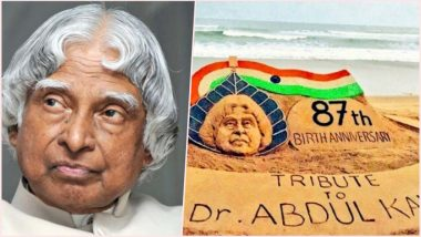 APJ Abdul Kalam Birth Anniversary Wishes: Artist Sudarsan Pattnaik Pays Tribute to the Missile Man With a Beautiful Sand Art