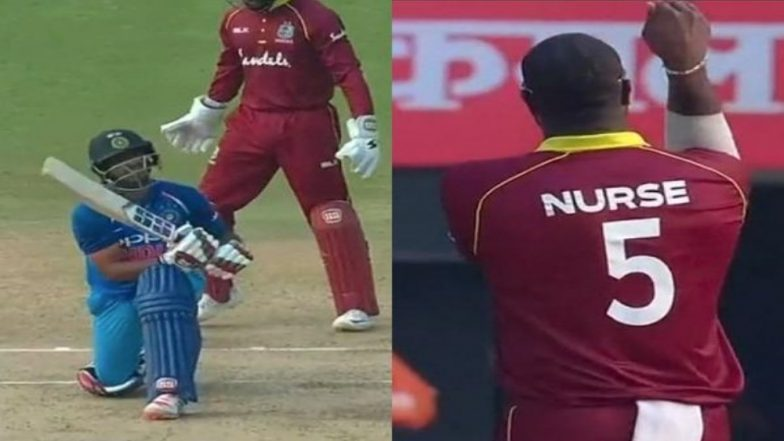 Ashley Nurse's Celebrations After the Wicket of Ambati Rayudu During India vs West Indies 2018, Will Remind You of Kapil Sharma's Bababji ka Thullu (Watch Video)