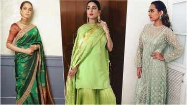 Navratri 2018 Day 3 Colour, October 12 – Green: From Sonakshi Sinha to Kangana Ranaut, Wear the Colour of Prosperity with Elegance This Festival