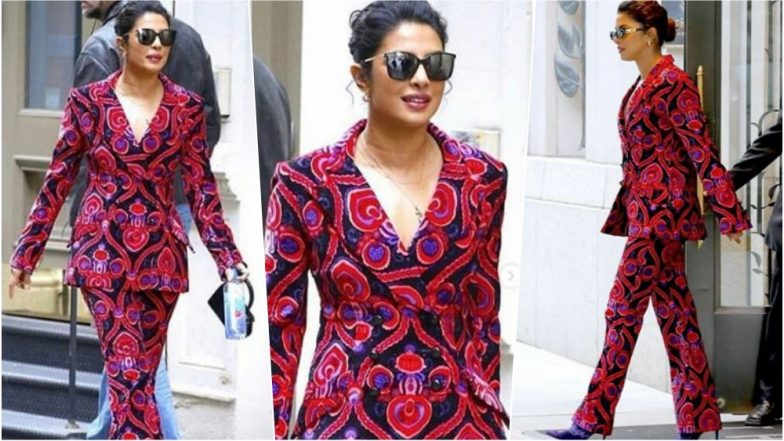 Is Priyanka Chopra Taking Inspiration from Ranveer Singh? Bride-To-Be Makes a Bold Statement in a Print Pant Suit (See Pics)