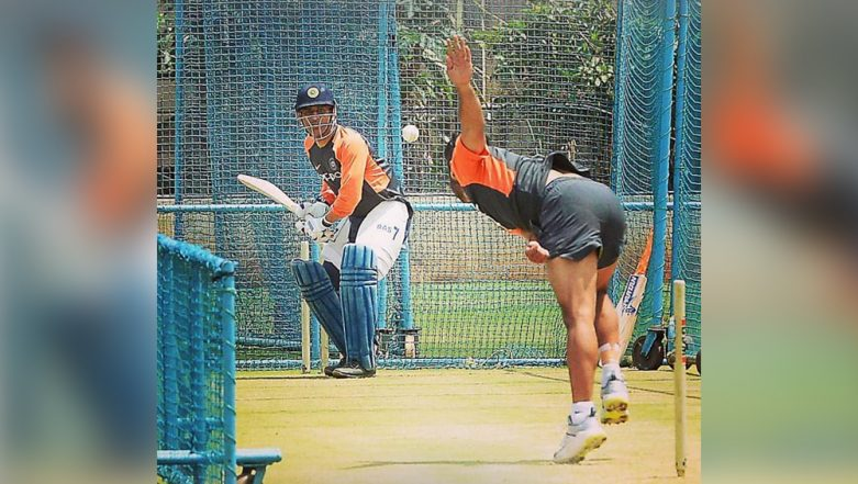 MS Dhoni Practices Lofty Shots in the Nets Ahead of India vs Australia, 1st T20I (Watch Video)