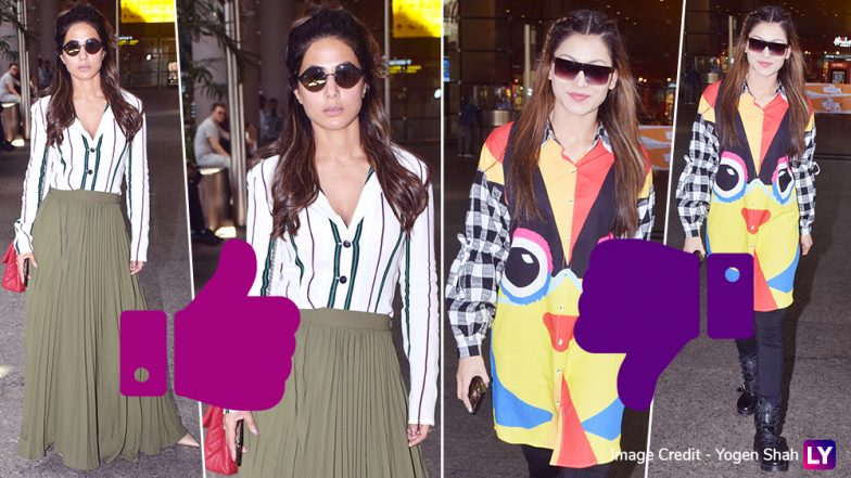 Hina Khan Sizzles, While Urvashi Rautela Fizzles in Their Latest Airport Looks! See Pics And Decide for Yourself