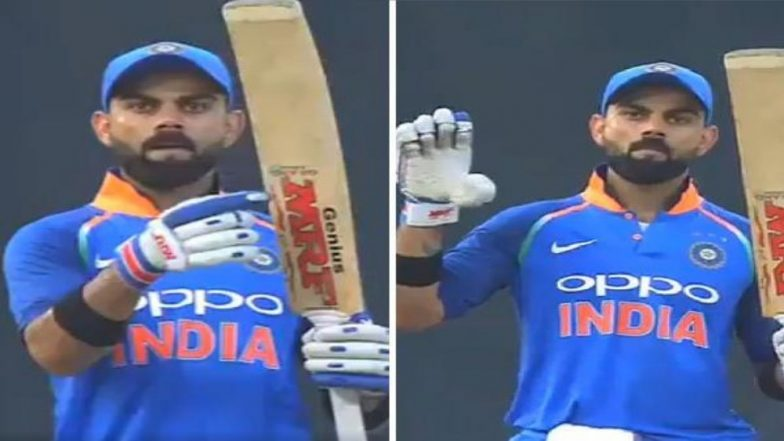 Virat Kohli's 'Let Your Bat Do the Talking' Celebration After his Record Century Against West Indies is Unmissable (Watch Video)