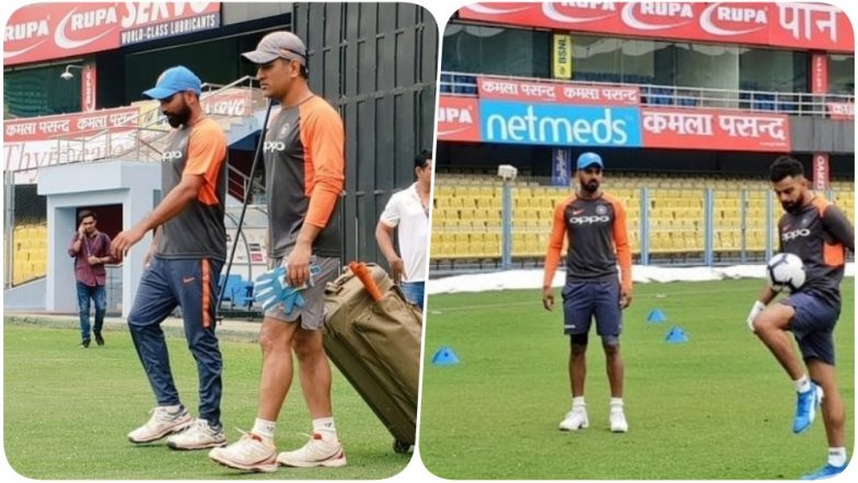 MS Dhoni, Virat Kohli & Others Hit the Nets at Guwahati Ahead of the First India vs West Indies ODI Match (See Pics & Video)