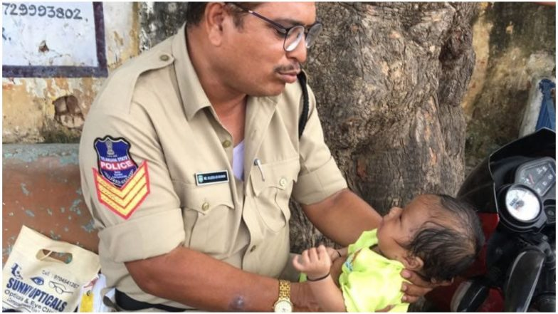 As Mother Writes Exam, Telangana Cop Consoles Crying Baby Outside Centre