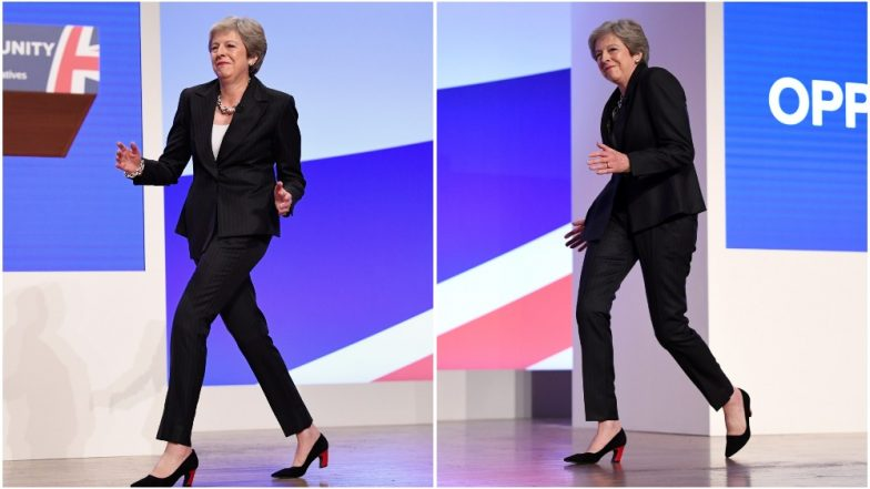 UK Prime Minister Theresa May Grooves to 'Dancing Queen' at Tory Conference (Watch Video)