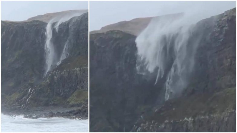 Reverse Waterfall! Storm Callum Causes Water to Go Upwards at Talisker Beach in Scotland (Watch Video)