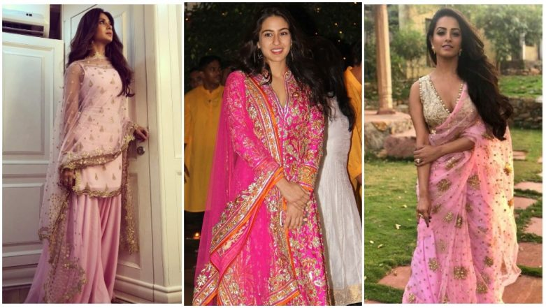 Navratri 2018 Colour for Day 9 on October 18 - Pink: Sara Ali Khan, Jennifer Winget And Anita Hassanandani Teach You How to Pull Off the Attires in This Colour