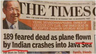 TOI Headline on Indian Pilot Flying Lion Air Plane That Crashed in Indonesia Angers Readers, Newspaper Faces Flak on Social Media