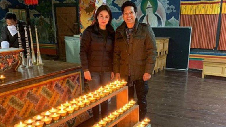 Sachin Tendulkar Lights 108 Diyas at Buddhist Monastery in Bhutan With Wife Anjali (See Pic & Video)