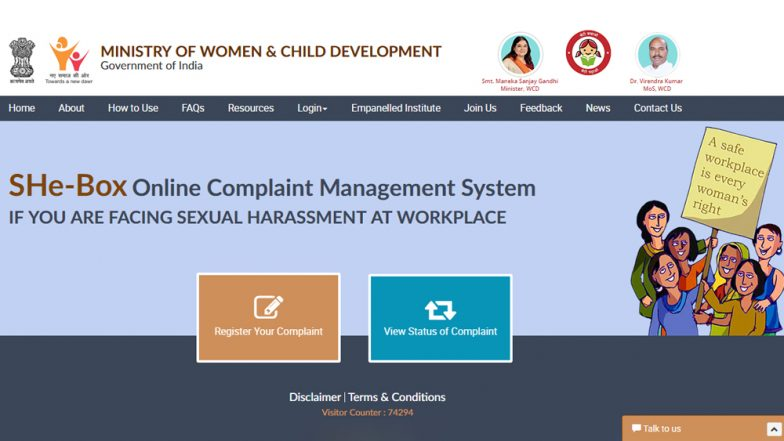 #MeToo Movement in India: All About SHe-Box, Government of India's Online Platform For Complaints of Sexual Harassment at Workplace