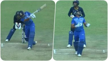 Shreyas Iyer has a Funny Moment On-Field as his Bat Goes Flying While Attempting a Big Shot During Vijay Hazare Trophy 2018 Semi- Finals (Watch Video)