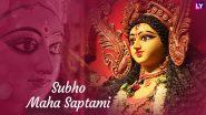 Happy Maha Saptami 2020 Greetings & Durga Puja HD Images: WhatsApp Messages & Status, SMS, GIFs and Facebook Cover Photos to Wish Subho Maha Saptami
