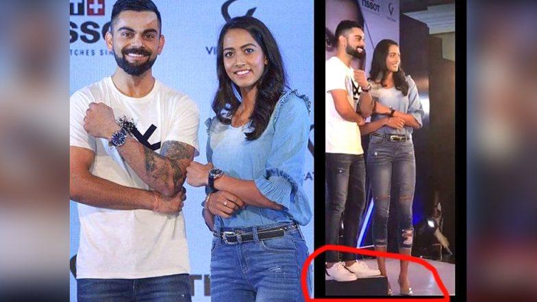 Does Virat Kohli Want to Appear Taller Than Karman Kaur Thandi? Twitterati Asks Indian Captain (Watch Video)