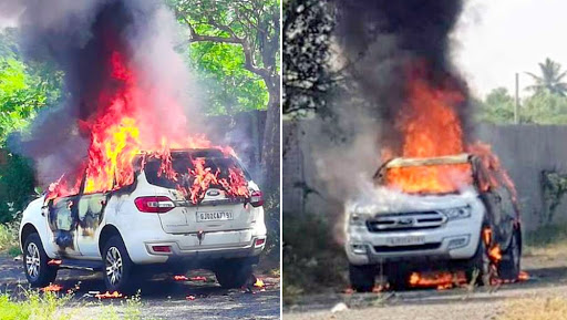 Ford Endeavour Owner Burnt to Death As A Month Old SUV Caught Fire in Gujarat