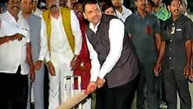 Maharashtra CM Devendra Fadnavis Plays Cricket at Pune Event, Watch Video