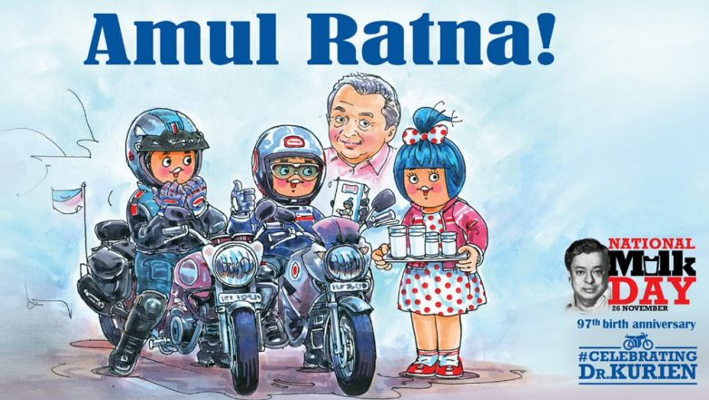 National Milk Day 2018: Amul Dedicates 'Amul Ratna' Doodle to Dr Verghese Kurien