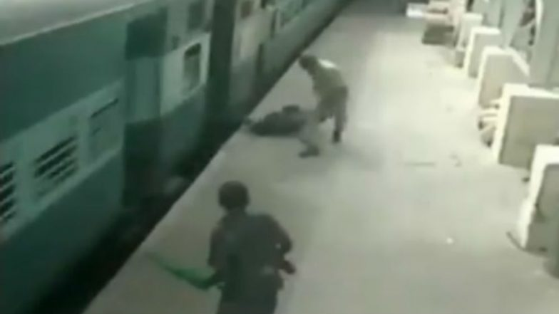 Watch Video: RPF Personnel in Chennai Saves Passenger From Falling Under Train