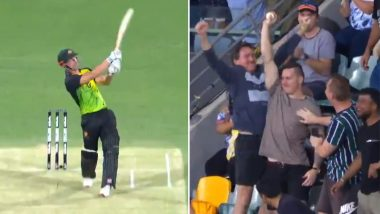 India vs Australia 1st T20I Match Video Highlights: Fan Catches A Huge 108m Six Hit By Chris Lynn, Sets Social Media Abuzz!