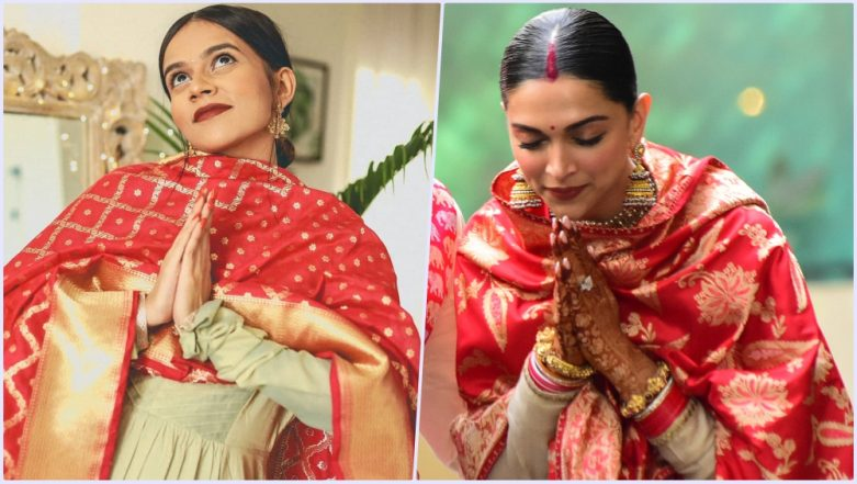 Deepika Padukone's Post-Wedding Sabyasachi Outfit Inspired by YouTuber Komal Pandey's Diwali Look? See Pic and Decide