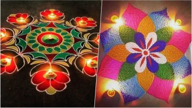 Latest Diwali 2018 Rangoli Design Images: Easy-To-Make Colourful Rangoli Patterns at Home (See Pics & Watch Video Tutorials)