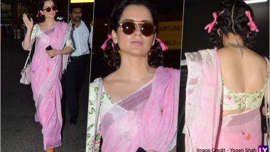 Kangana Ranaut's Latest Airport Look in Saree and Pigtail Braids Will Transport You Back in Time (See Pics)