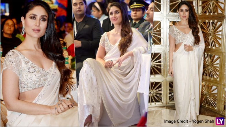 Kareena Kapoor Khan Is Vision in White in Manish Malhotra Saree! See Pics of Begum of Bollywood at Jashn-E-Youngistan 2018