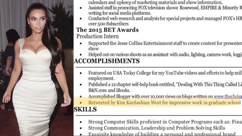 Update your CVs! Kim Kardashian's Retweets Added by a Student to 'Accomplishments' on His Resume, Lands Three Jobs in One Week
