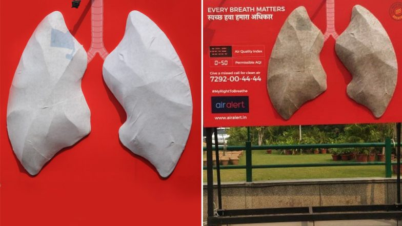 Delhi Air Pollution: Model of White Lungs Erected to Indicate Air Quality Turns Grey Within Two Days of Diwali, View Pics!