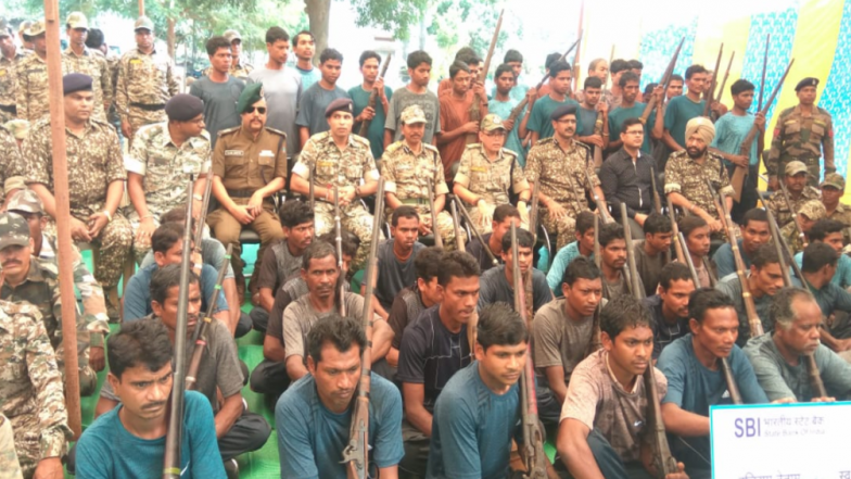 Chhattisgarh: 62 Naxals With 51 Country Made Weapons Surrender Before Police