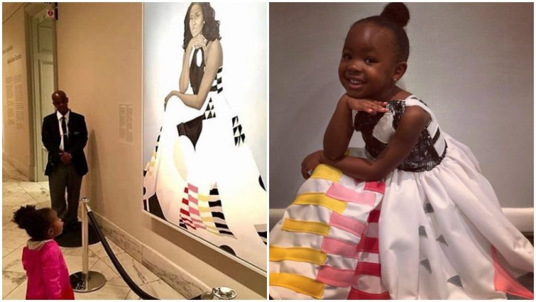 Little Girl Awestruck by Michelle Obama's Portrait Dresses Up As the Former FLOTUS for Halloween