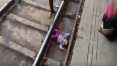 Uttar Pradesh: One-Year-Old Girl Escapes Unhurt After Passenger Train Runs Over Her at Mathura Railway Station; Watch Video
