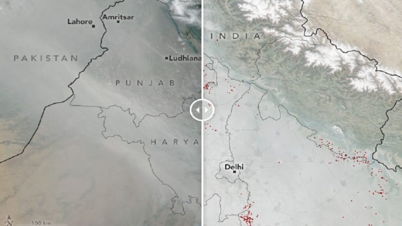 NASA Shares Satellite Images That Show How North Indian Skies Turned 'Smokier and Smokier' Ahead of Diwali 2018