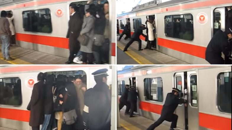 Oshiya or Professional Pushers Are Employed to Push People in Crowded Trains in New York, Beijing and Tokyo! Watch Video