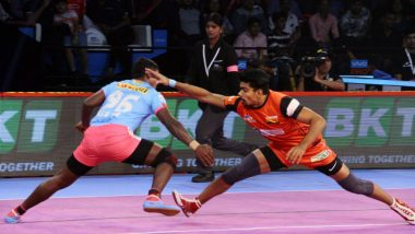 PKL 2018-19 Video Highlights: Pawan Sehrawat Helps Bengaluru Bulls to Register 45-32 Win Over Jaipur Pink Panthers
