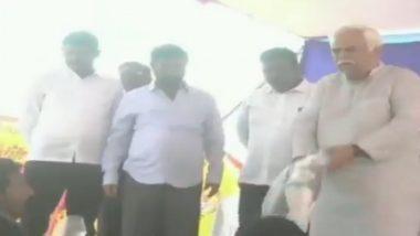 Karnataka Revenue Minister RV Deshpande Draws Flak by Throwing Sports Kits at Local Sportsperson; Watch Video