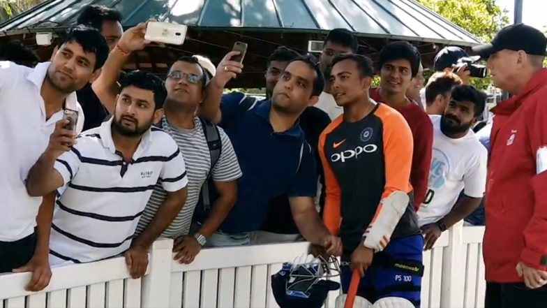 Prithvi Shaw Obliges Fans With Selfies & Autographs During Practice Session after IND vs AUS CA XI Practice Match, Day 2, at Sydney: Watch Video