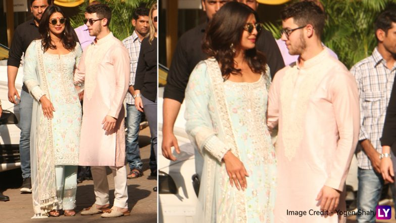 Priyanka Chopra, Nick Jonas and Family Pose in Beautiful Traditional Attires As They Head For Pre-Wedding Puja in Mumbai (View Pics)