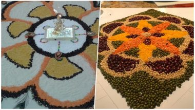 Easy Rangoli Ideas for Diwali 2018: Learn to Make Colourful Rangoli Designs and Patterns With Rice Grains and Pulses, Watch Videos