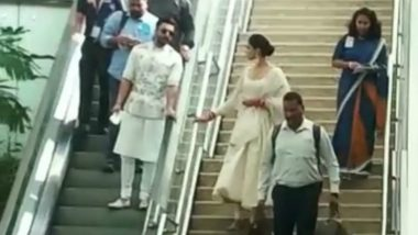 Ranveer Singh Takes Escalator While Wife Deepika Padukone Prefers Stairs at Airport: This Viral Video of Newlyweds Got Their Fans LOLing!