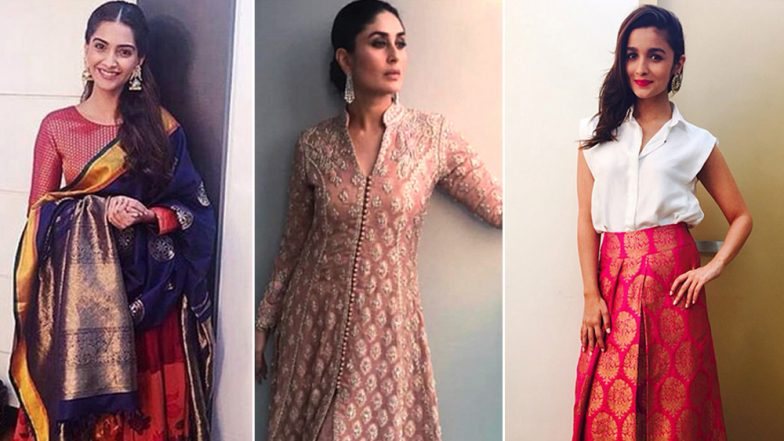 Diwali 2018: From Kareena Kapoor Khan's Heavily Embellished Outfit to Sonam Kapoor's Love for Colourful Attire: Take Some Fashion Inspiration From Our Stunners This Year – View Pics