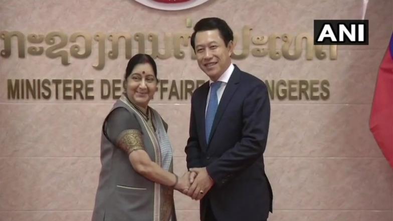 Sushma Swaraj Meets Laotian Counterpart Kommasith; Holds Bilateral Talks
