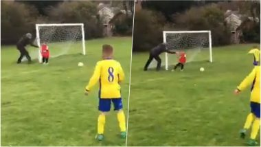 Hilarious Video of Dad Pushing His Goalie Son to Save a Goal During Under-8s Football Match Is Surely Not a Perfect Parenting Lesson